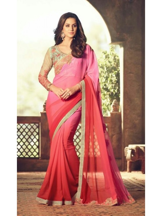 Designer Red & Pink Shaded Saree with Designer Jacket (Immediate Shipping)