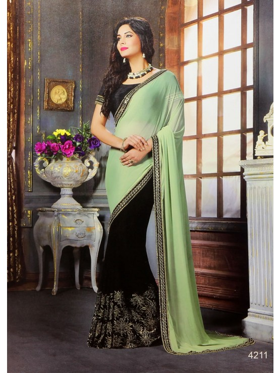 Premium Designer Black & light Green Saree