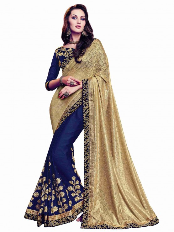 Designer Blue and Gold Saree with elegant embroidery work