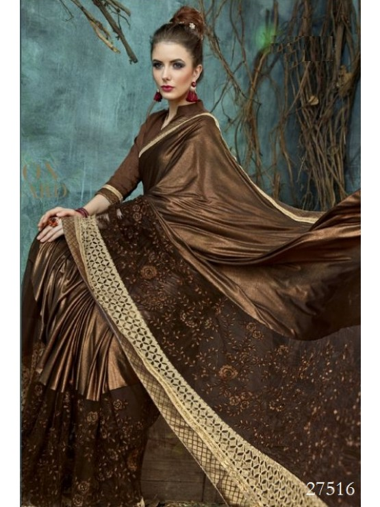 Designer Elegant Rich Coffee Brown Saree (Immediate Dispatch!)