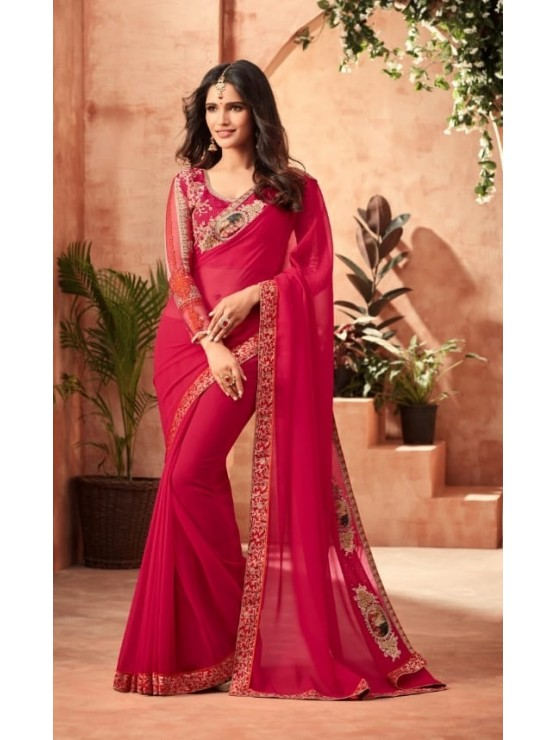 Designer Elegant Red Saree (Immediate Shipping!)