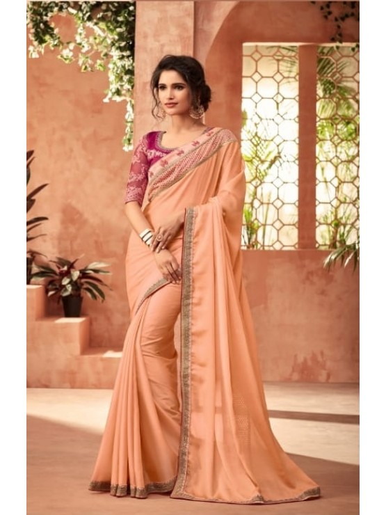 Designer Peachy Orange Saree (Immediate Shipping!)