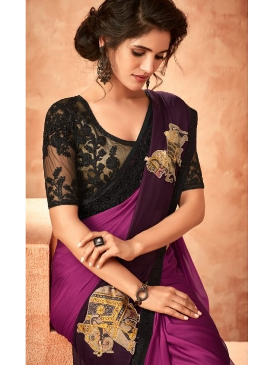 Designer Purple Saree (Immediate Dispatch!)