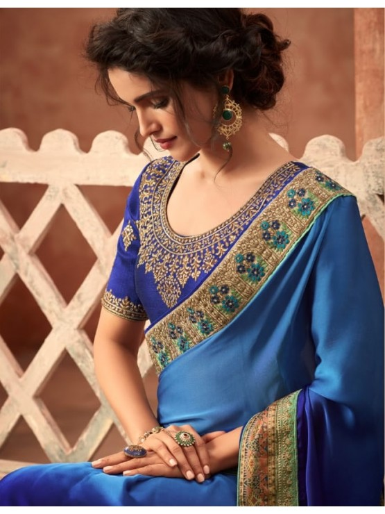 Designer Royal Blue Saree (Immediate Shipping!)
