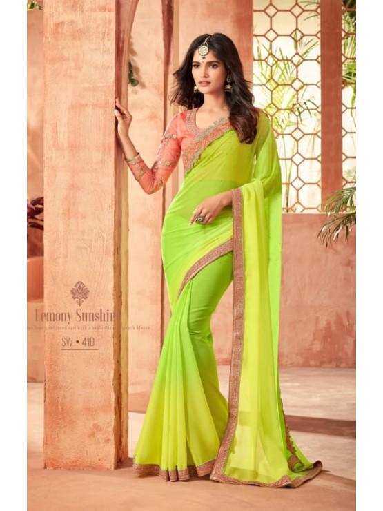 c840db97f Designer Yellow   Light Green Saree (Immediate Dispatch!) - Designer ...
