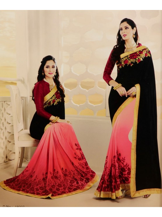 Designer Black Fall with maroon embroidery