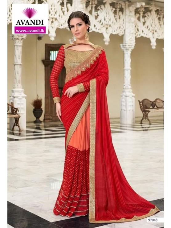 Designer Red & Orange Saree