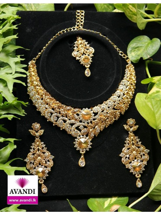 necklace gold crystal earring p plating elegant party goods set dangling
