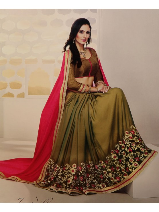 Designer Hot Red & Matt Gold Embroidered Saree