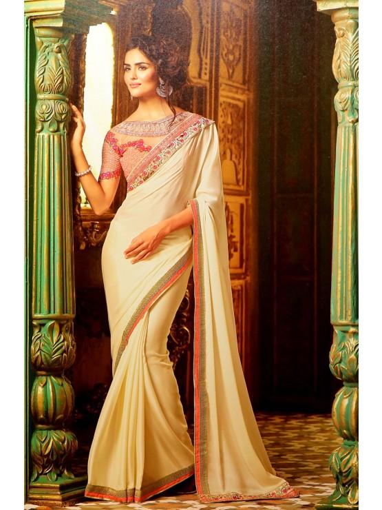 Designer Cream & Pink Saree