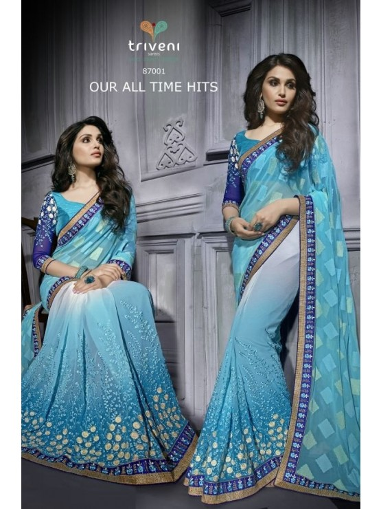Designer Shaded Blue Saree with elegant heavy embroidery work