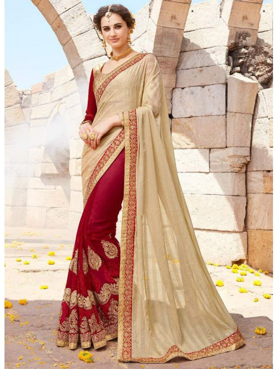 Designer Elegant Red & Gold Saree with beautiful embroidery work