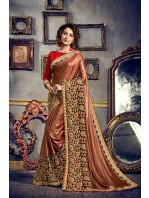Designer Shimmer Maroon Shot Golden Red Saree (Immediate Shipping!)