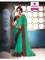 Designer Teal Saree with elegant embroidery  (Immediate Dispatch!)