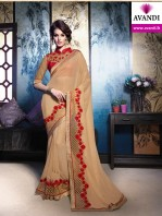 Designer Gold and red embroidery saree