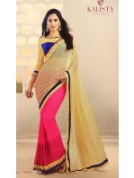 Designer Hot Pink Saree with Gold Fall