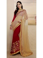 Designer Red & Gold Saree