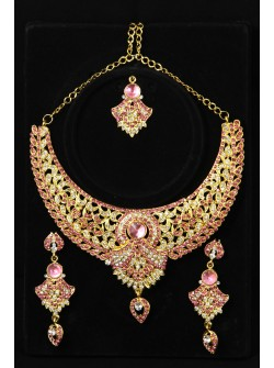 Gold colour Jewellery Set with Pink & White Stones