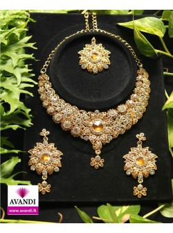 Elegant Floral Full Set with Gold and Silver stone work