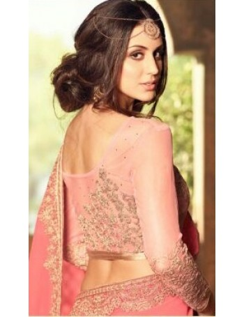 Designer Salmon Pink Shaded Saree with Designer Jacket (Immediate Shipping!)