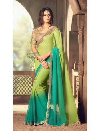 Designer Green Shaded Saree with Designer Jacket (Immediate Shipping)