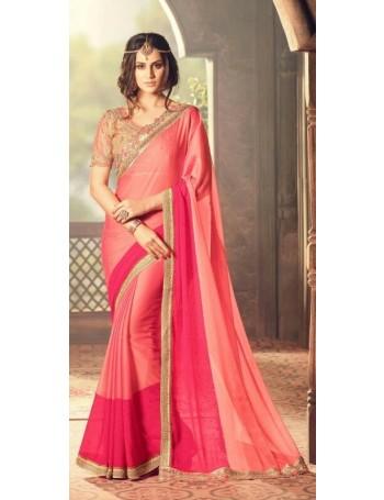 Designer Pink Saree with Designer Jacket (Immediate Shipping)