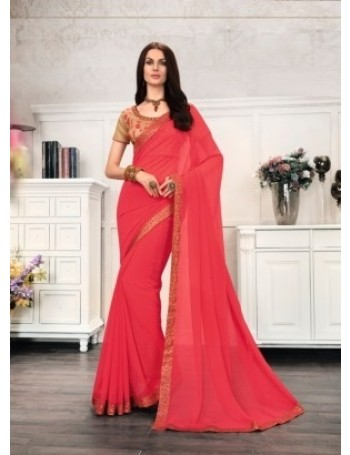 Designer Reddish Pink Saree (Immediate Dispatch!)