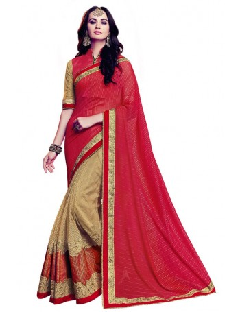Designer Red & Gold Saree with elegant embroidery work (Immediate Dispatch!)