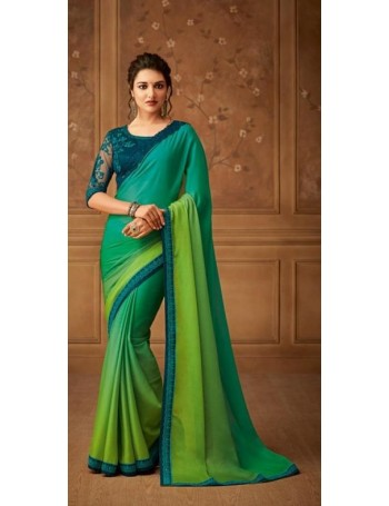 Gorgeous Designer Green Shaded Saree (Immediate Shipping!)