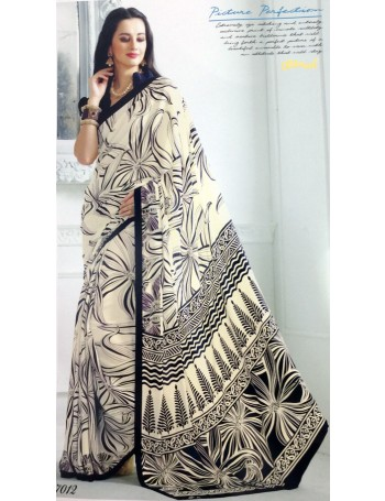 Designer Black & Off white all over Printed Saree