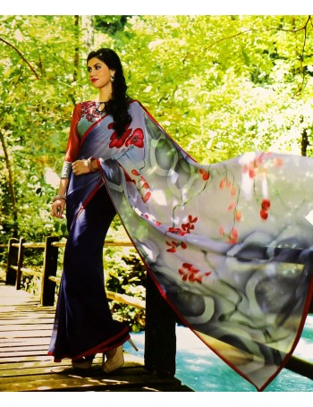 Designer Indigo-blue Purple with dash of red Saree