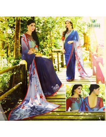 Designer Indigo-blue Purple with dash of red Saree