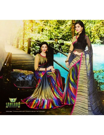 Designer Modern Black Saree with Rainbow pleats