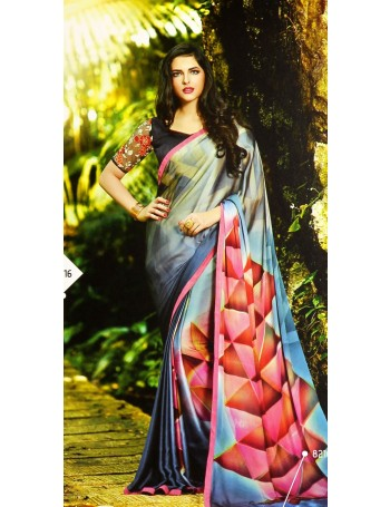 Designer Deep Blue with Pinkish Orange Printed Saree