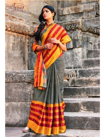 Handloom Grey & Yellow Formal Saree
