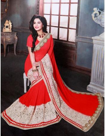 Designer Stunning Red & Gold Premium Saree