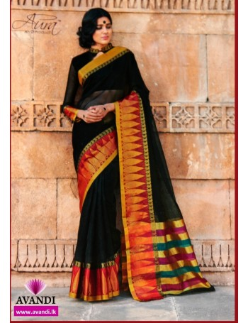 Handloom Black with red gold border