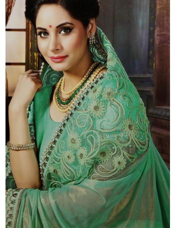 Premium Sea Green Saree with Elegant Embroidery work