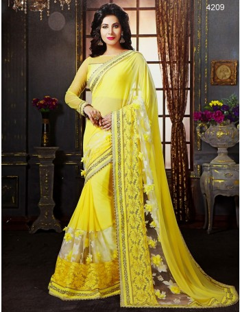 Premium Designer 3D flower design yellow Saree