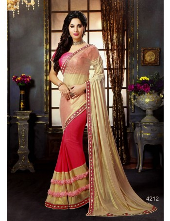 Premium Designer Hot Pink & Gold Saree with 3D flower pleats