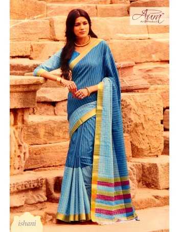 Blue with Pin Stripes & Gold border Saree