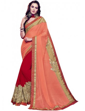 Designer Red & Orange Saree with Elegant work (Immediate Dispatch!)
