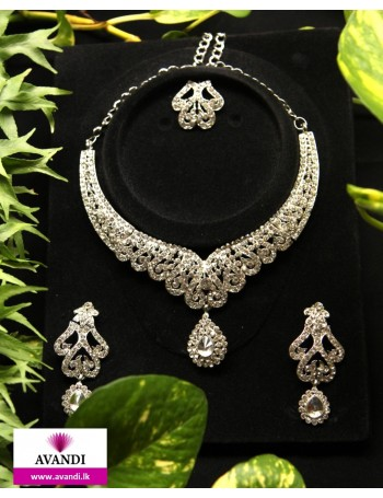 Jewellery Full set Silver with white stones