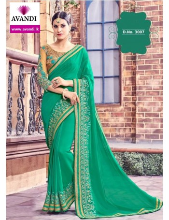 Designer Lush Green Classic Embroidered Saree (Immediate Dispatch!)