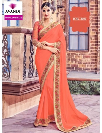 Designer Orange Saree with embroidery work (Immediate Dispatch!)