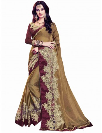 Designer Detail worked Mustard Gold and Coffee Brown Saree  (Immediate Dispatch!)