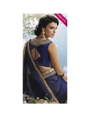 Designer Navy Blue and Gold Saree