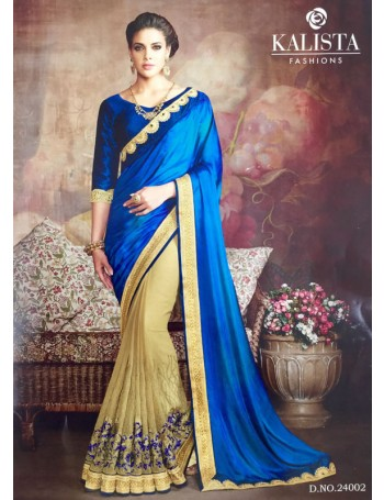 Designer Royal Blue & Gold Saree