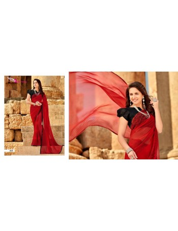Designer Red Printed Saree