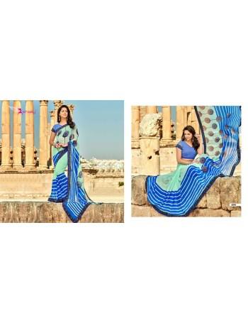 Designer Printed Blue Saree